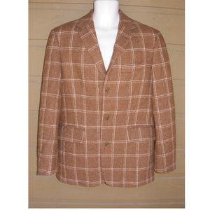 J.CREW Sports Coat, Brown & beige Wool, Windowpane